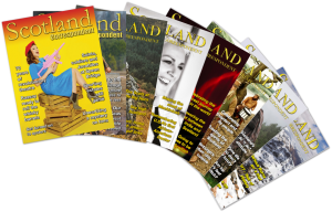The front covers of the first 8 issues of Scotland Correspondent magazine fanned out